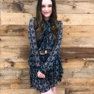 Navy Floral Long Sleeve Tier Dress